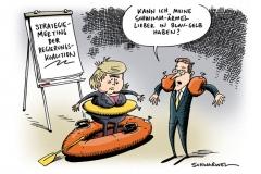 karikatur-schwarwel-merkel-koalition-stategie-schwimmaermel