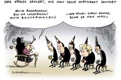 schwarwel-karikatur-merkel-krause-bollerwagen-regierung-merkel