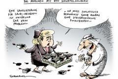schwarwel-karikatur-saudi arabien-panzer-lieferung-merkel-scheich