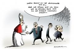schwarwel-karikatur-papst-papstbesuch-griechenland-eurozone