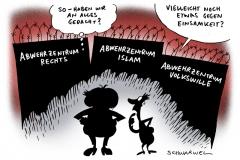schwarwel-karikatur-abwehr-abwehrzentrum-islam-rechts-volkswille
