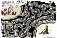 schwarwel-karikatur-hilfsgueter-hilfsorganisation-armut-korruption-blockade