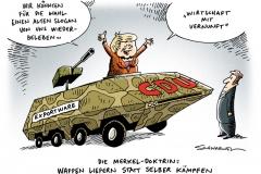 schwarwel-karikatur-export-merkel-ruestungsindustrie