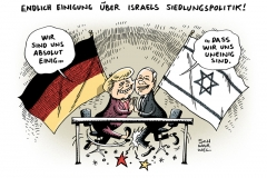 schwarwel-karikatur-einig-einigung-israel-siedlungspolitik