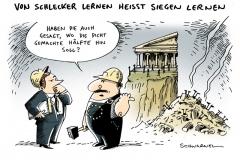 schwarwel-karikatur-schlecker-griechenland-insolvenzverfahren