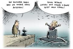 schwarwel-karikatur-uboot-israel-iran-lieferung