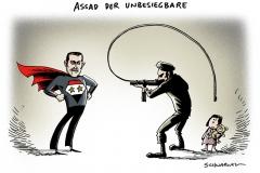 schwarwel-karikatur-assad-unbesiegbar-syrien