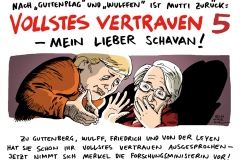 schwarwel-karikatur-schavan-vertrauen-forschungsministerin-merkel