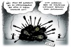 schwarwel-karikatur-waffenembargo-syrien-außenminister