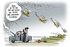 schwarwel-karikatur-adac-bundeswehr-auslandseinsaetze-bundesministerin