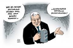 schwarwel-karikatur-bayern-seehofer-zuwanderer-europa