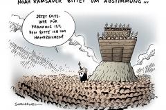 schwarwel-karikatur-fracking-energiekrise-streit-ramsauer-arche-noah