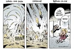 schwarwel-karikatur-konflikte-krieg-nahost-israel-gaza-ukraine-fussball