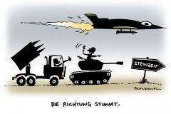 schwarwel-karikatur-steinzeit-konflikt-nahost-hamas-raketen