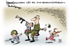 schwarwel-karikatur-kita-betreuungsproblem-kindergarten-bundeswehr
