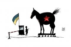 schwarwel-karikatur-ukraine-hilfskonvoi-waffen-russland-hilfe