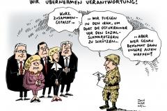 schwarwel-karikatur-bundeswehr-merkel-gabriel-von-der-leyen-seehofer-soldat