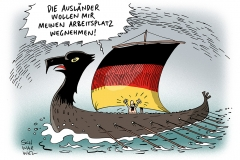 schwarwel-karikatur-auslaender-arbeitsplatz-wegnahme-migranten