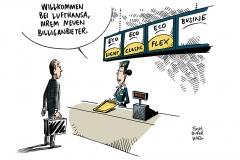 schwarwel-karikatur-lufthansa-fluggesellschaft-billiganbieter