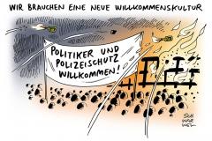schwarwel-karikatur-willkommenskultur-migranten-asylsuchende-fluechtlinge-polizeischutz