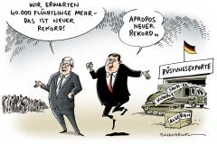schwarwel-karikatur-ruestung-export-asyl-fluechtlinge-gabriel