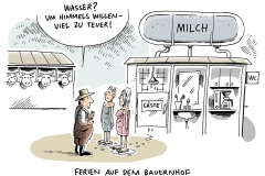 schwarwel-karikatur-milchpreis-preisniveau-kuhstall-milchbauern-ferien-bauernhof-feriengaeste