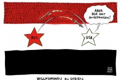 schwarwel-karikatur-syrien-fluechtlinge-fluechtlingspolitik-russland-terrormiliz-kampf