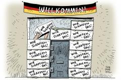 schwarwel-karikatur-willkommenspaket-asylpolitik-asylsuchende-fluechtlinge-fluechtlingspolitik-merkel