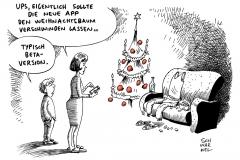 karikatur-schwarwel-app-betaversion-weihnachtsbaum-tothoelzer