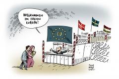 karikatur-schwarwel-europa-fluechtlinge-eu-willkommen-grenze