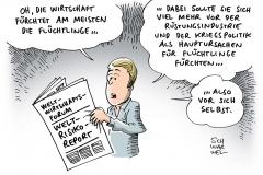 karikatur-schwarwel-weltrisikobericht-ruestung-krieg-politik-klima-fluechtlinge