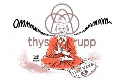 karikatur-schwarwel-thyssen-krupp-tata-stell-stahl-konzern-buddha-buddhistischer-gleichmut