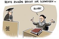 karikatur-schwarwel-nsu-prozess-zschaepe-gericht-schweigen-nationalsozialistisch