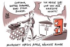 karikatur-schwarwel-siri-spracherkennung-it-apple-iphone-handy-cortana-microsoft-alexa-amazon-now-google