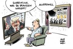 karikatur-schwarwel-donald-trump-rechte-gewalt-fluechtlingsunterkunft-fluechtlinge