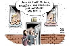 karikatur-schwarwel-merkel-nsa-untersuchungsausschuss-bnd-abhoeren-ueberwachung