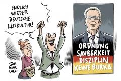 karikatur-schwarwel-deutsche-leitkultur-keine-burka-de-maiziere
