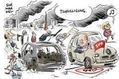 karikatur-schwarwel-g20-gipfel-hambug-olaf-scholz-kapitalismus-demokratie-diktatur-ausschreitungen