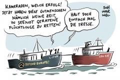 Rechtsradikale Identitäre im Mittelmeer auf C-Star in Seenot: Flüchtlingshelfer der Sea-Eye sollen völkischen Nationalistenzu Hilfe kommen