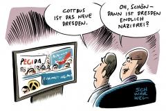 AfD, Pegida, Identitäre Bewegung in Cottbus: Breites Bündnis von Rechten bezieht neue Kampfzone gegen Flüchtlingspolitik