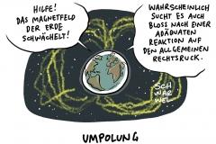 Schwächezone im Magnetfeld der Erde: Nordpol bleibt, wo er ist