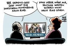 Fall Khashoggi: Siemens-Chef Kaeser sagt Investorenkonferenz in Riad ab, Kanzlerin Angela Merkel (CDU): Weitere Rüstungsexporte nach Saudi-Arabien auf den Prüfstand