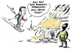 Proteste in Paris: Ausschreitungen der Gelbwesten – Macron fährt Ski