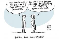Maut-Desaster um Verkehrsminister Scheuer: Start des U-Ausschuss zu Pkw-Maut, Bundestagsbeschluss: Zwölf Berufe wieder mit Meisterpflicht