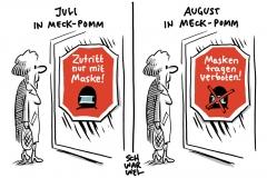 Diskussion um Maskenpflicht: Landesregierung von Meckl-Pomm rechnet Anfang August mit Abschaffung