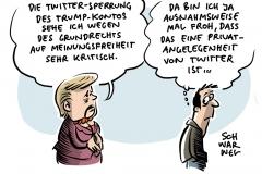 Twitter-Konto von US-Präsident gesperrt: Merkel sieht Trump-Sperrung wegene Grundrecht auf Meinungsfreiheit kritisch