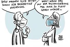 Bayern führt FFP2-Maskenpflicht für Nahverkehr und Geschäfte ein: 2,5 Millionen FFP2-Masken für Bedürftige
