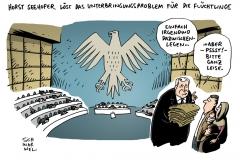 schwarwel-karikatur-flucht-fluechtlinge-bayern-csu-horst-seehofer