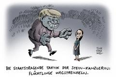 schwarwel-karikatur-streicheln-fluechtlingsmaedchen-merkel