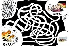 schwarwel-karikatur-labyrinth-fluechtlinge-merkel